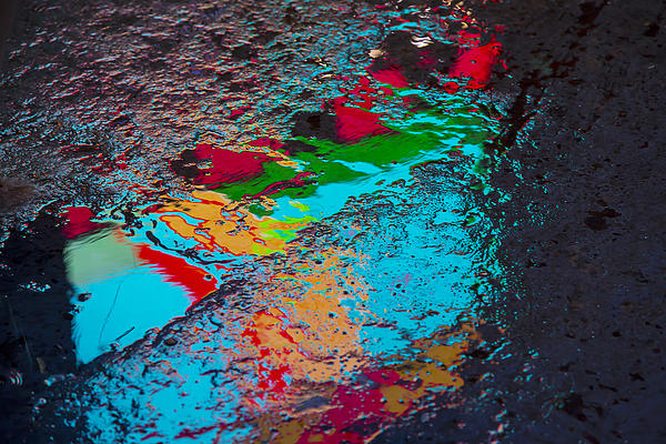 Abstract Wet Pavement Print by Garry Gay