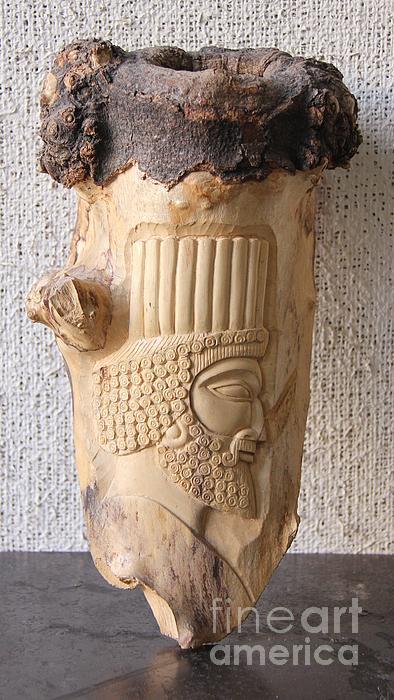 Achaemenian Soldier Relief Sculpture Wood Work Print by Persian Art