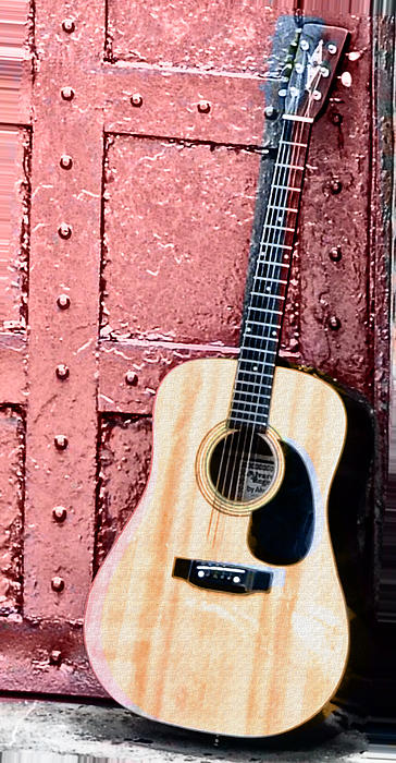 Acoustic Guitar And Red Door Print by Bill Cannon