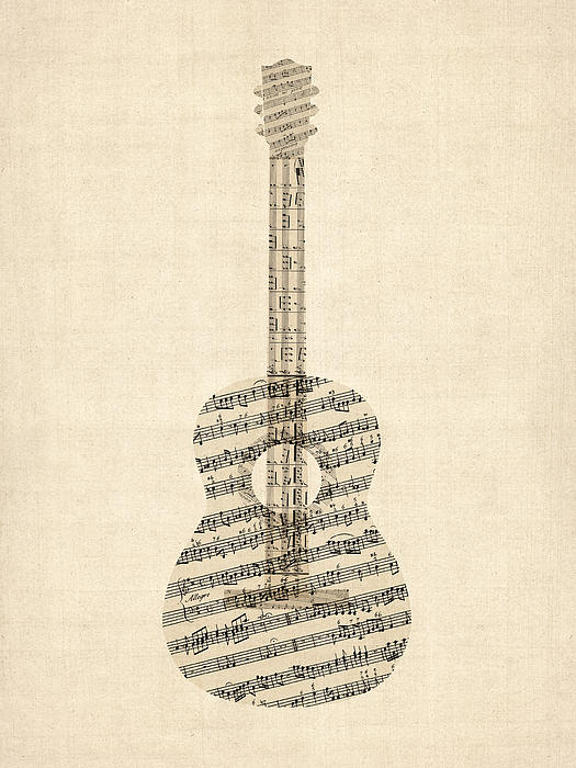 Acoustic Guitar Old Sheet Music Print by Michael Tompsett