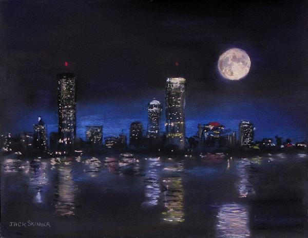 Across The Charles At Night Print by Jack Skinner