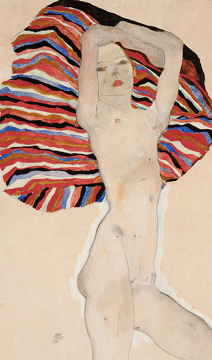 Act Against Colored Material Print by Egon Schiele