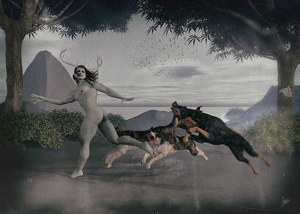 Acteon Chased By Their Dogs. Print by Joaquin Abella