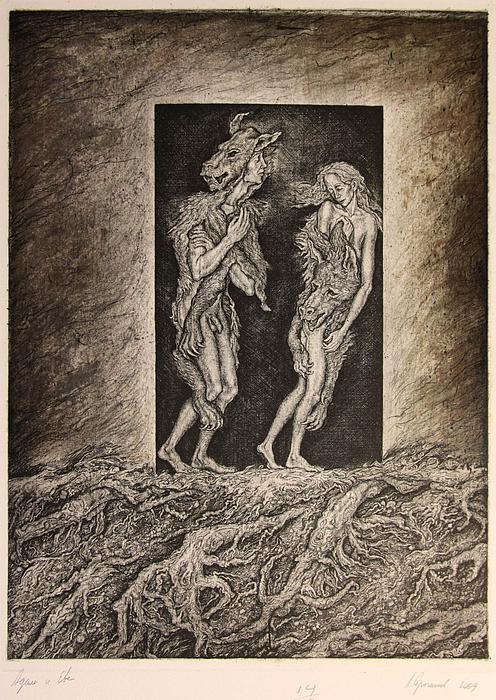 Adam And Eve Print by Leonid Stroganov