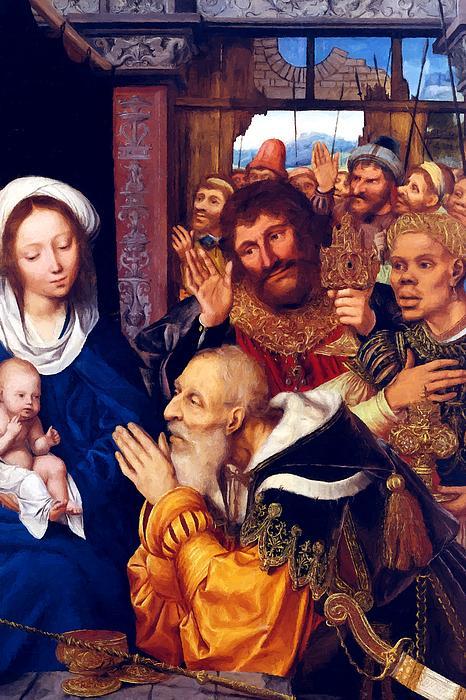 Adoring Baby Jesus Print by Munir Alawi