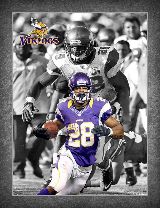 Adrian Peterson Vikings Print by Joe Hamilton
