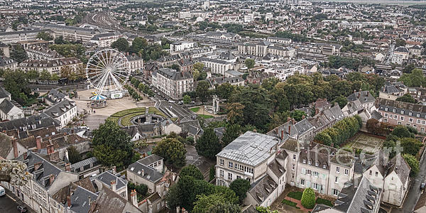 Aerial Chartres Print by Olivier Le Queinec