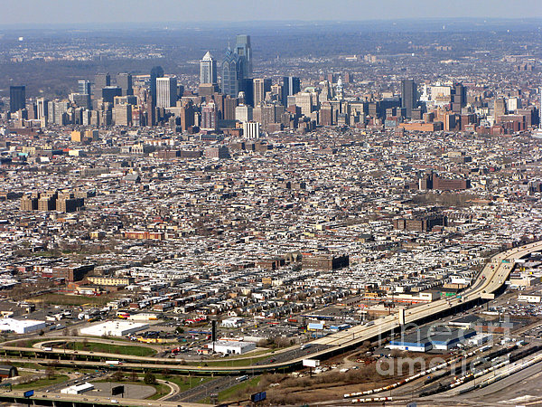 Aerial Philadelphia Print by Olivier Le Queinec
