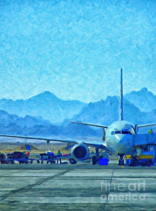 Aeroplane At Airport Print by Antony McAulay