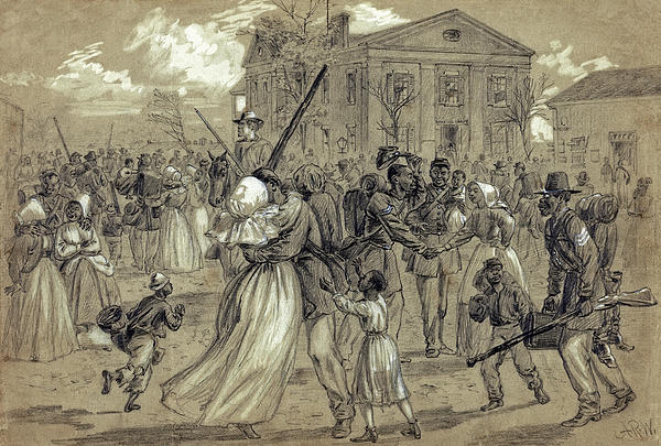 African American Soldiers Return Home From War - 1866 Print by Daniel Hagerman