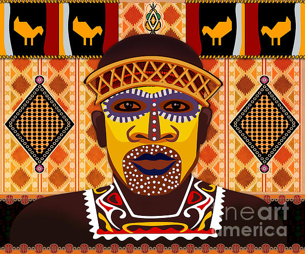 African Tribesman 2 Print by Bedros Awak
