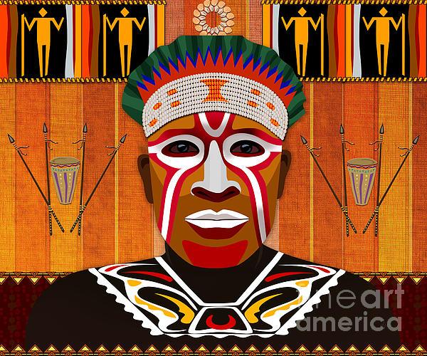 African Tribesman 3 Print by Bedros Awak