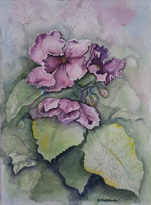 African Violets Print by Rebecca Matthews