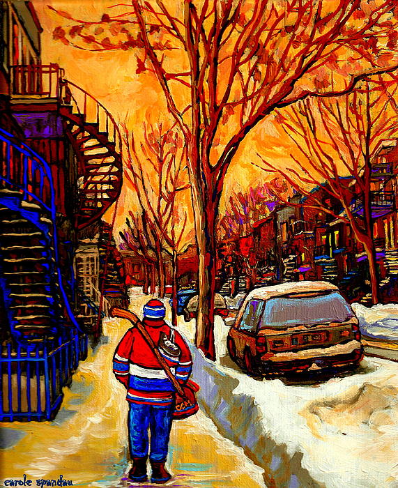 After The Hockey Game A Winter Walk At Sundown Montreal City Scene Painting  By Carole Spandau Print by Carole Spandau