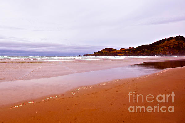 Agate Beach Oregon With Yaquina Head Lighthouse Print by Artist and Photographer Laura Wrede