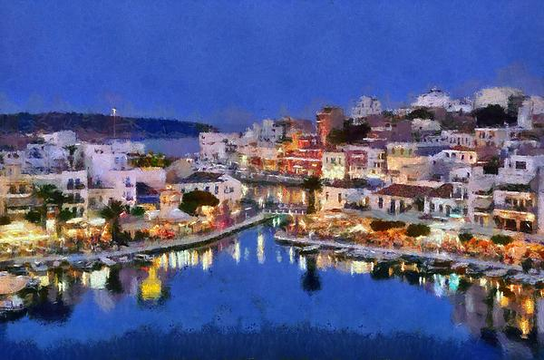 Painting Of Agios Nikolaos City Print by George Atsametakis