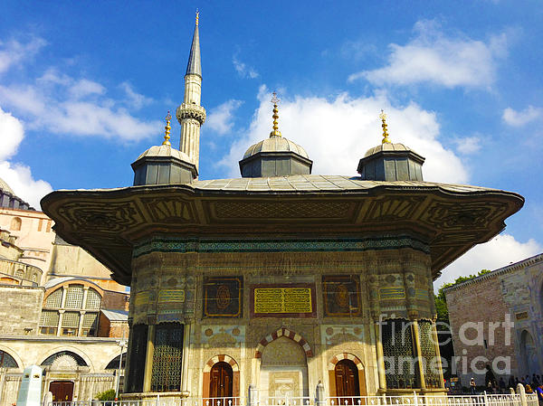 Ahmet II Fountain Next To Topkapi Palace Main Entry With A Minaret Of Hagia Sophia Palace Istanbul  Print by ArtPhoto-Ralph A  Ledergerber-Photography