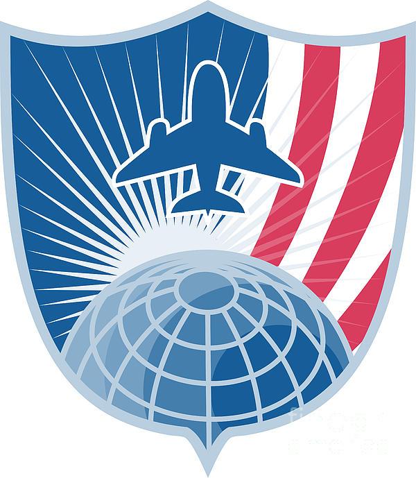 Airplane Jet Plane World Shield Print by Aloysius Patrimonio