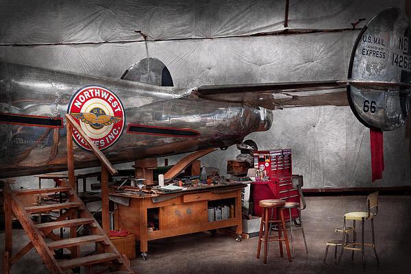 Airplane - The Repair Hanger Print by Mike Savad
