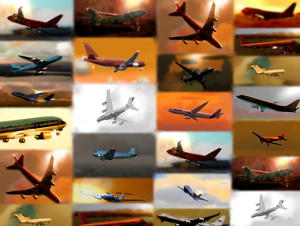 Airplanes Collage Print by Marcello Cicchini