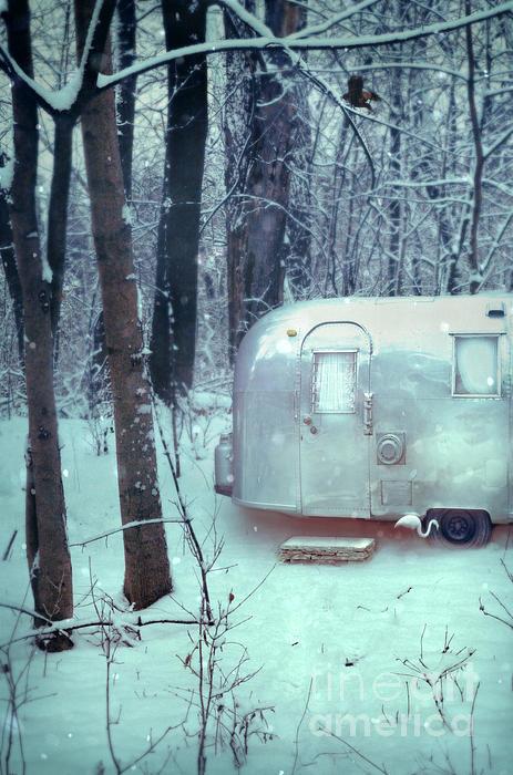 Airstream Trailer In Snowy Woods Print by Jill Battaglia