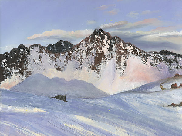 Alamoots Winter Mountains Print by Cecilia  Brendel