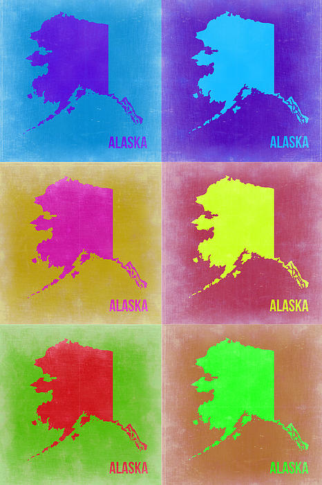 Alaska Pop Art Map 2 Print by Naxart Studio