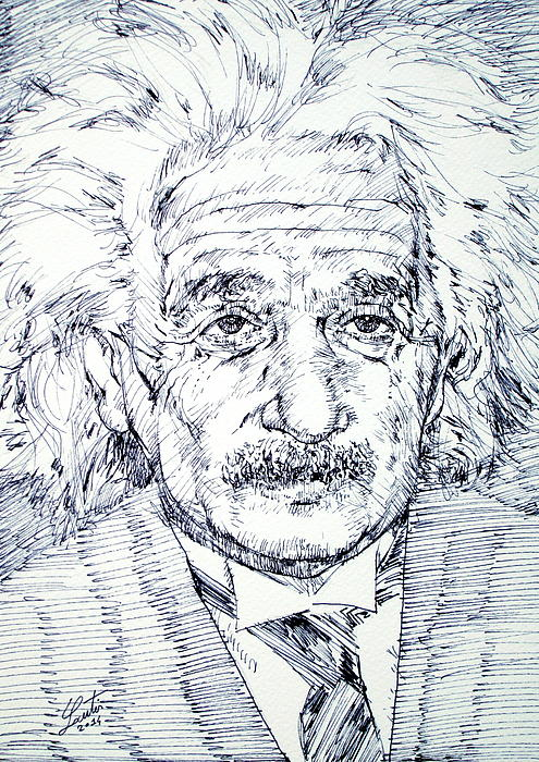 Albert Einstein - Drawing Portrait Print by Fabrizio Cassetta