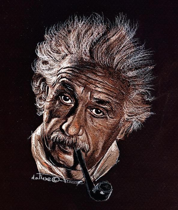 Albert Einstein Portrait Print by Daliana Pacuraru