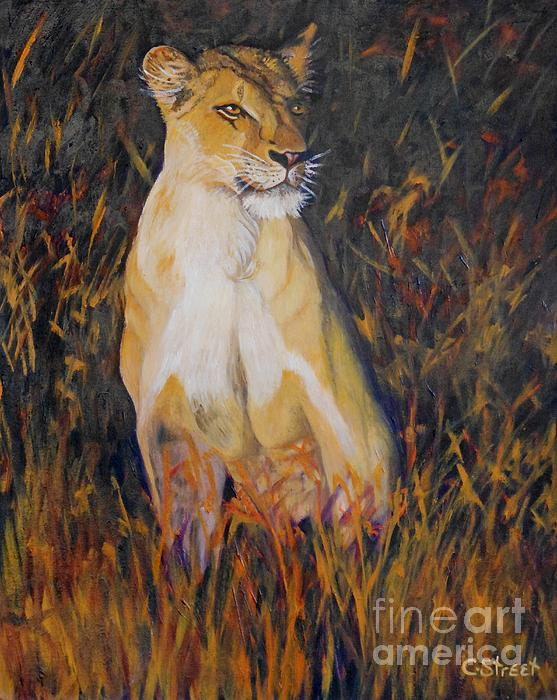 Alert Lioness Print by Caroline Street