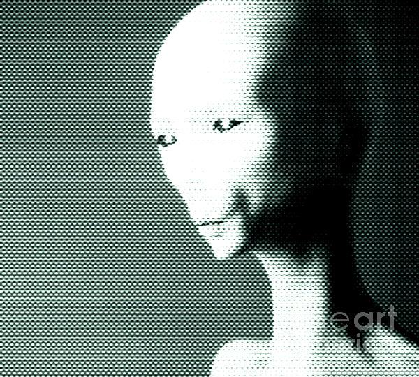Alien Grey Pattern Print by Pixel  Chimp