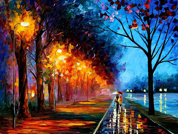 Leonid Afremov - Alley By The Lake 2 - PALETTE KNIFE Oil Painting On Canvas By Leonid Afremov
