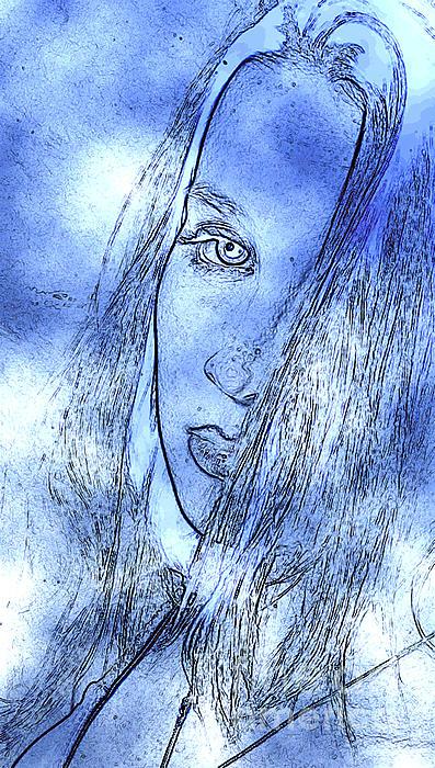 Alluring Portrait In Blue Print by Andrew Govan Dantzler