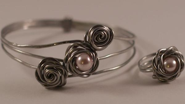 Aluminum And Pearl Rosebud Bracelet And Ring Print by Tracy Partridge-Johnson