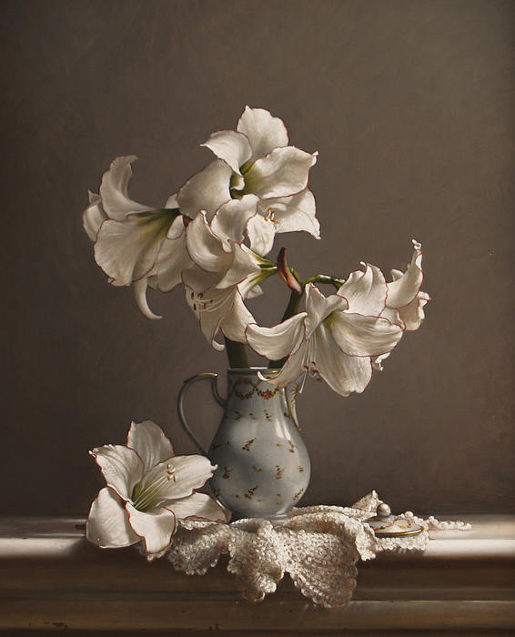 Amaryllis In A French Chocolate Pot Print by Larry Preston