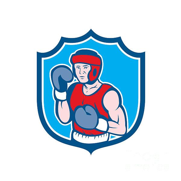 Amateur Boxer Stance Shield Cartoon Print by Aloysius Patrimonio