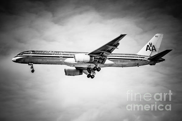 Amercian Airlines Airplane In Black And White Print by Paul Velgos