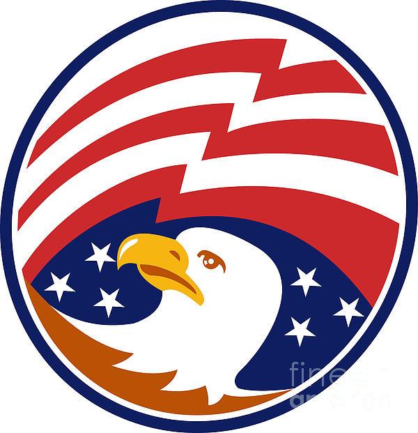 American Bald Eagle With Flag Print by Aloysius Patrimonio