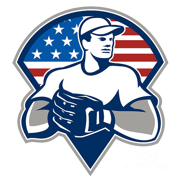 American Baseball Pitcher Gloves Retro Print by Aloysius Patrimonio