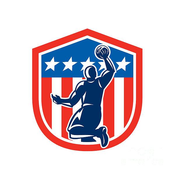 American Basketball Player Dunk Rear Shield Retro Print by Aloysius Patrimonio