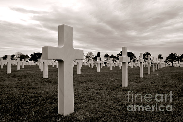 American Cemetery In Normandy Print by Olivier Le Queinec
