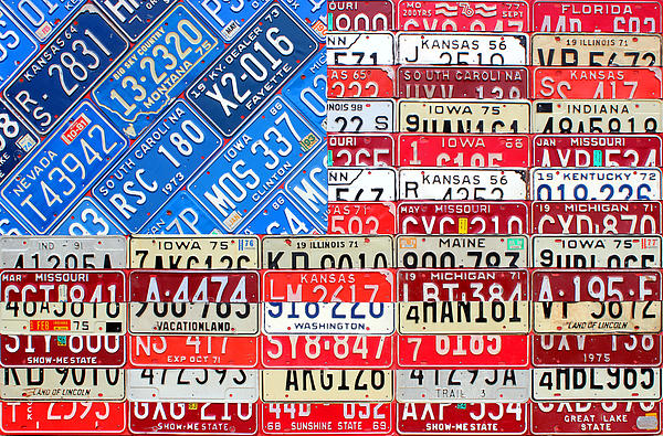 American Flag Recycled License Plate Art Print by Design Turnpike