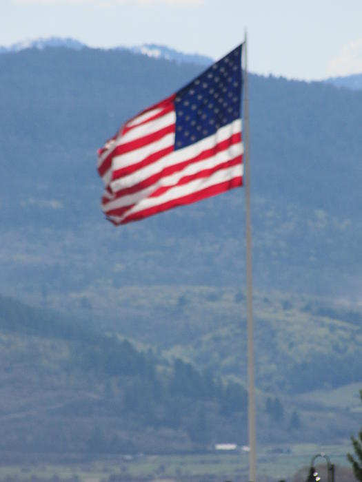 American Flag Star Valley Print by Shawn Hughes
