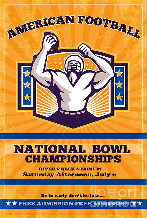 American Football National Bowl Poster Art Print by Aloysius Patrimonio