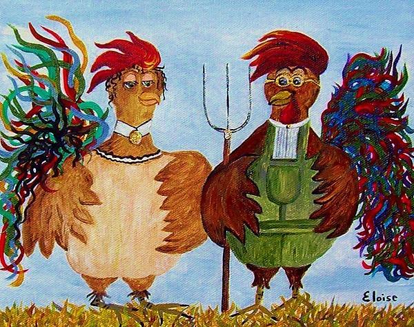 American Gothic Down On The Farm - A Parody Print by Eloise Schneider