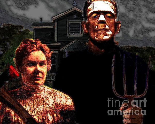 American Gothic Resurrection - Version 2 Print by Wingsdomain Art and Photography