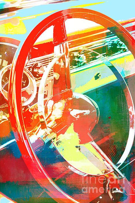 American Steel Steering Wheel Pop Art Print by AdSpice Studios