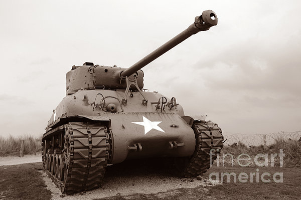 American Tank Print by Olivier Le Queinec