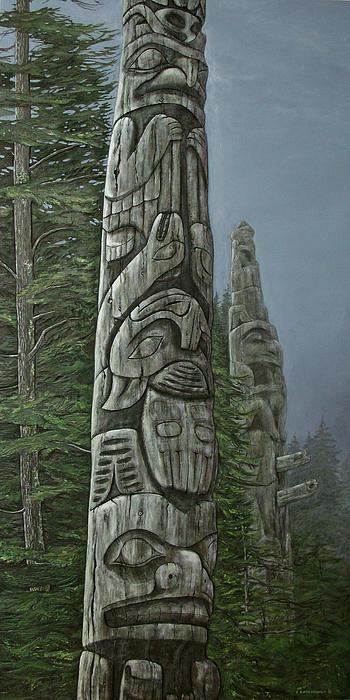 Amid The Mist - Totems Print by Elaine Booth-Kallweit