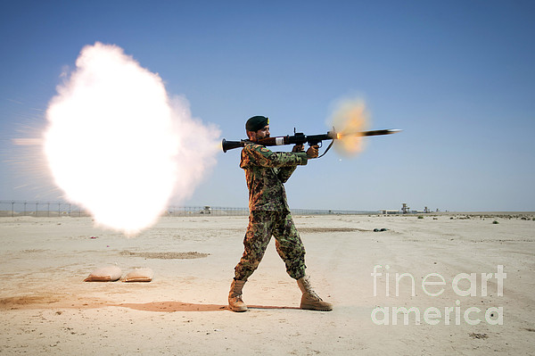 An Afghan National Army Soldier Fires Print by Stocktrek Images